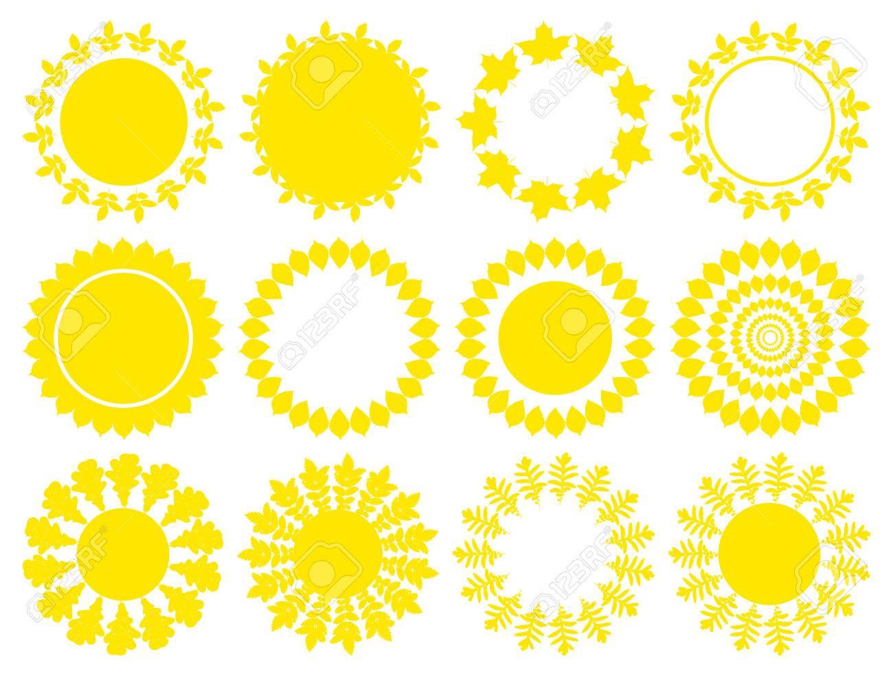 Sun Icon Set. Vector Yellow Mandala, Round Shapes, Frames Or ...