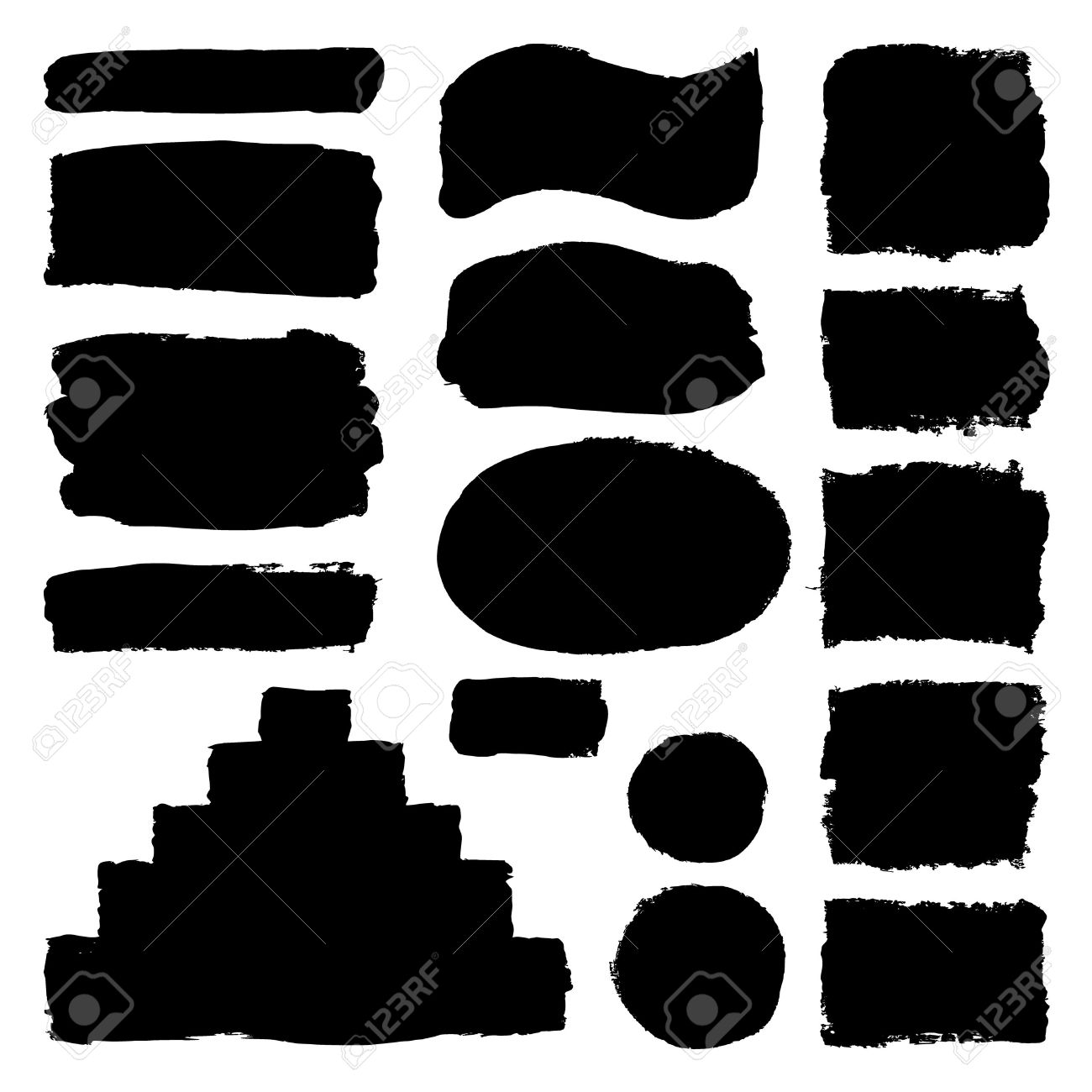 Hand drawn abstract black paint brush strokes. Vector set collection of shapes isolated on white background. Round, oval, ellipse, pyramid, circle, rectangle elements for design. - 54855162