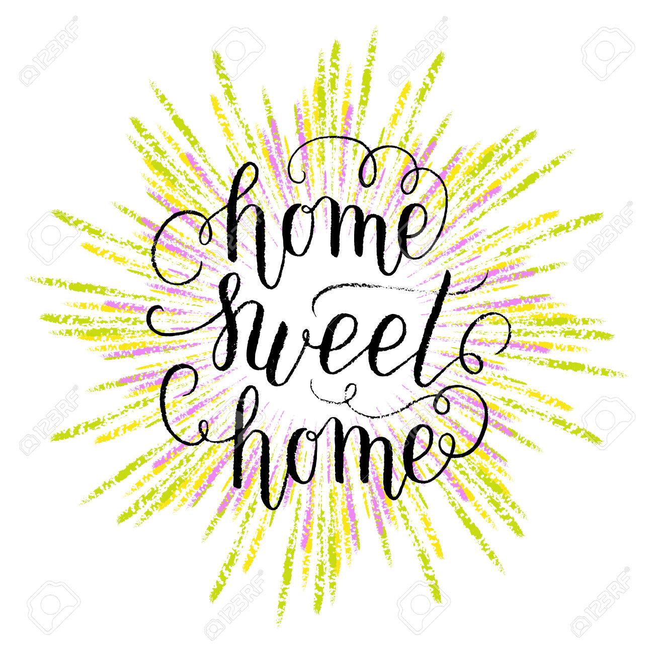 Home Sweet Poster Print With Hand Drawn Colorful Rays Vector Lettering Quote
