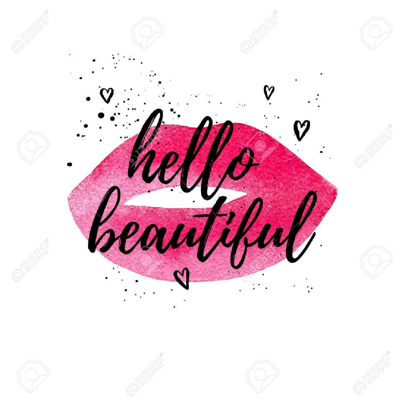 Hello beautiful greeting card fashion poster vector hand lettering hello beautiful greeting card fashion poster vector hand lettering quote on pink watercolor lips m4hsunfo