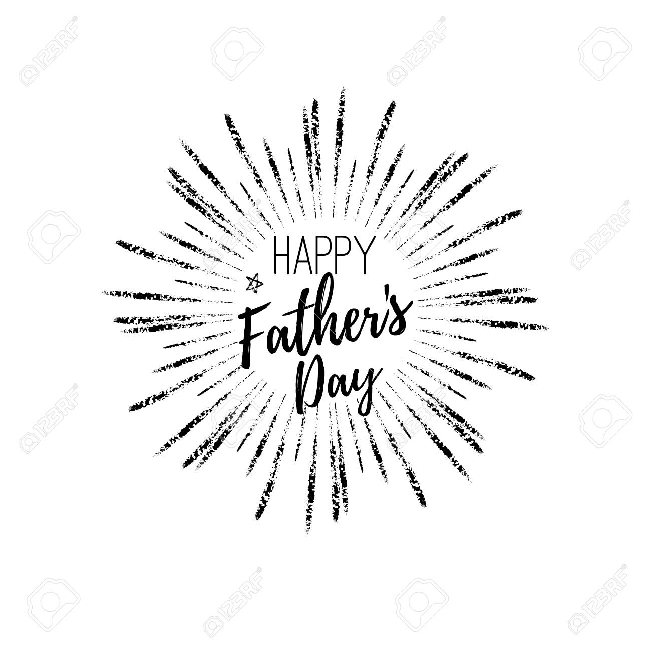 Happy Fathers Day Greeting Card Label Vector Background With