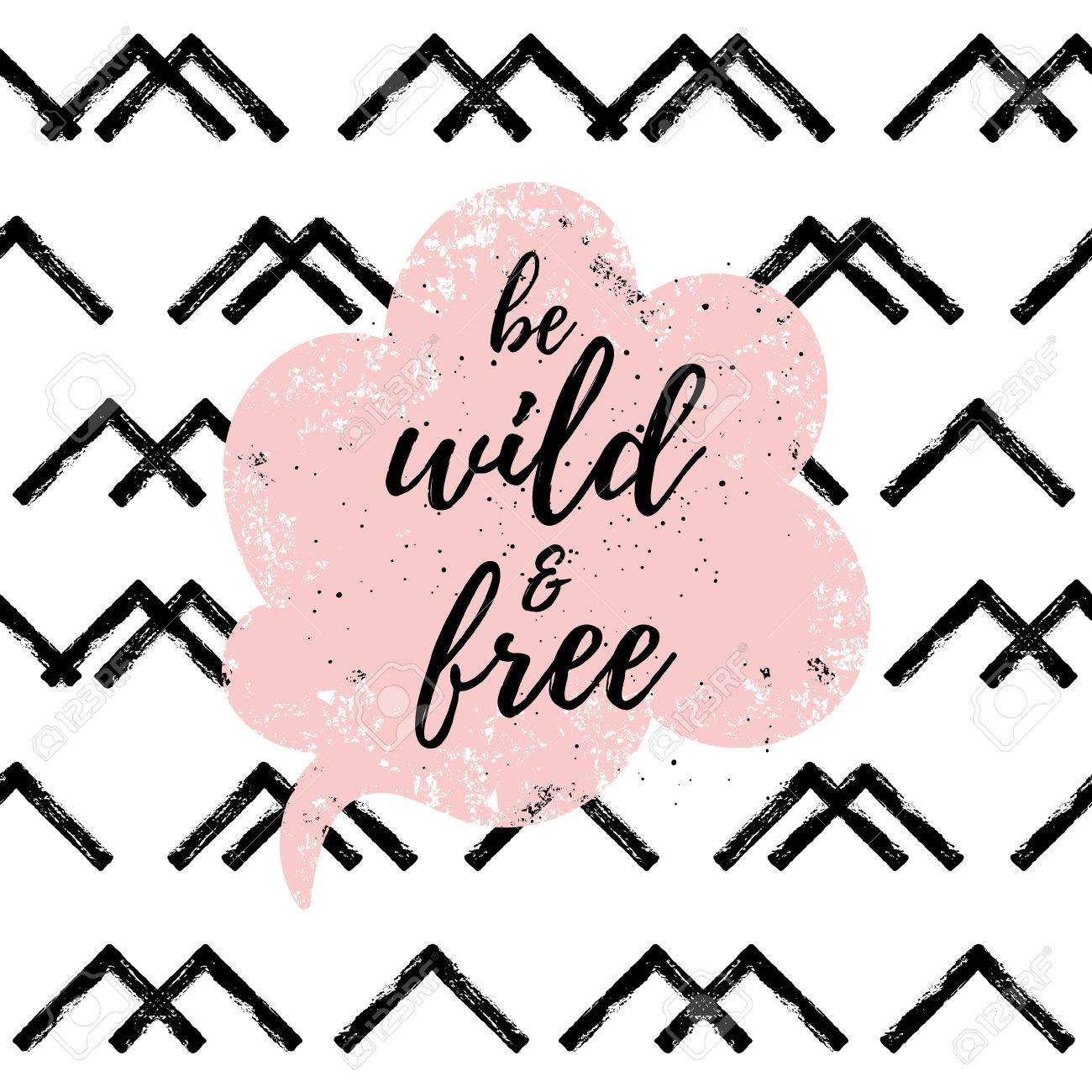 Be Wild And Free Fashion Graphic Print Greeting Cards Set Vector