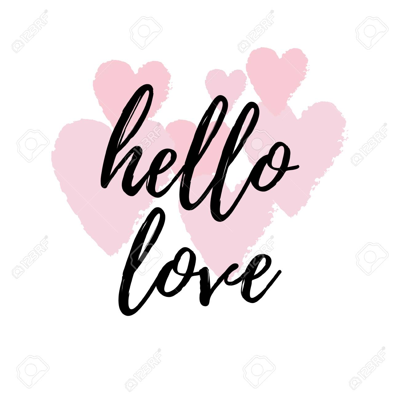 Wonderful Hello Love Inspirational Quote Greeting Card, Poster, Cover. Vector Hand  Lettering With Pink Design Inspirations