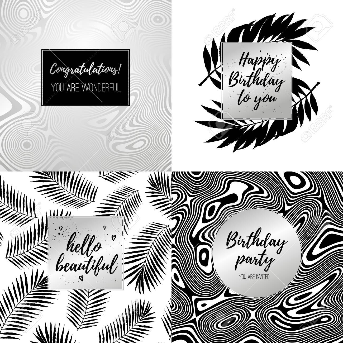 Happy birthday fashion typography posters greeting cards happy birthday fashion typography posters greeting cards invitation set in black silver and m4hsunfo
