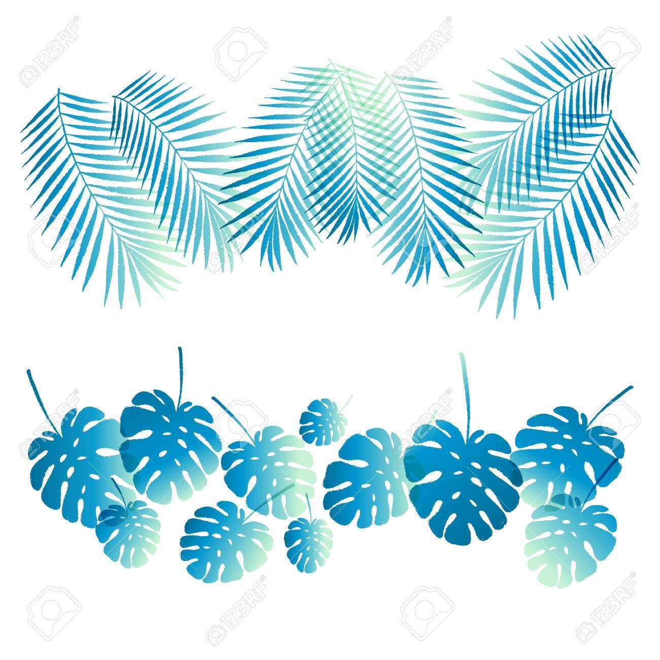 Sommer-Gefälle Tropischen Palmen Verlässt Grenze, Rahmen, Box ...