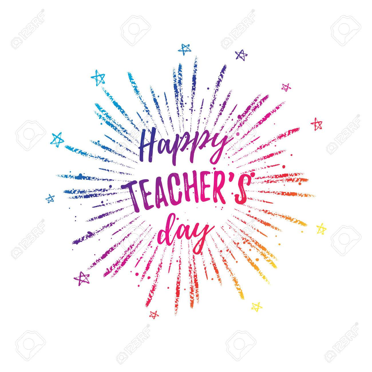 Happy teachers day label greeting card poster vector colorful happy teachers day label greeting card poster vector colorful quote on a white m4hsunfo