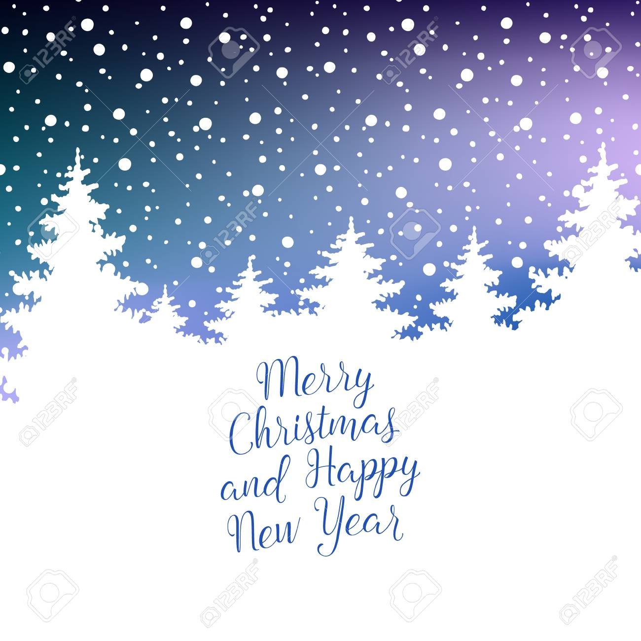 Merry Christmas And Happy New Year Greeting Card. Vector Winter ...