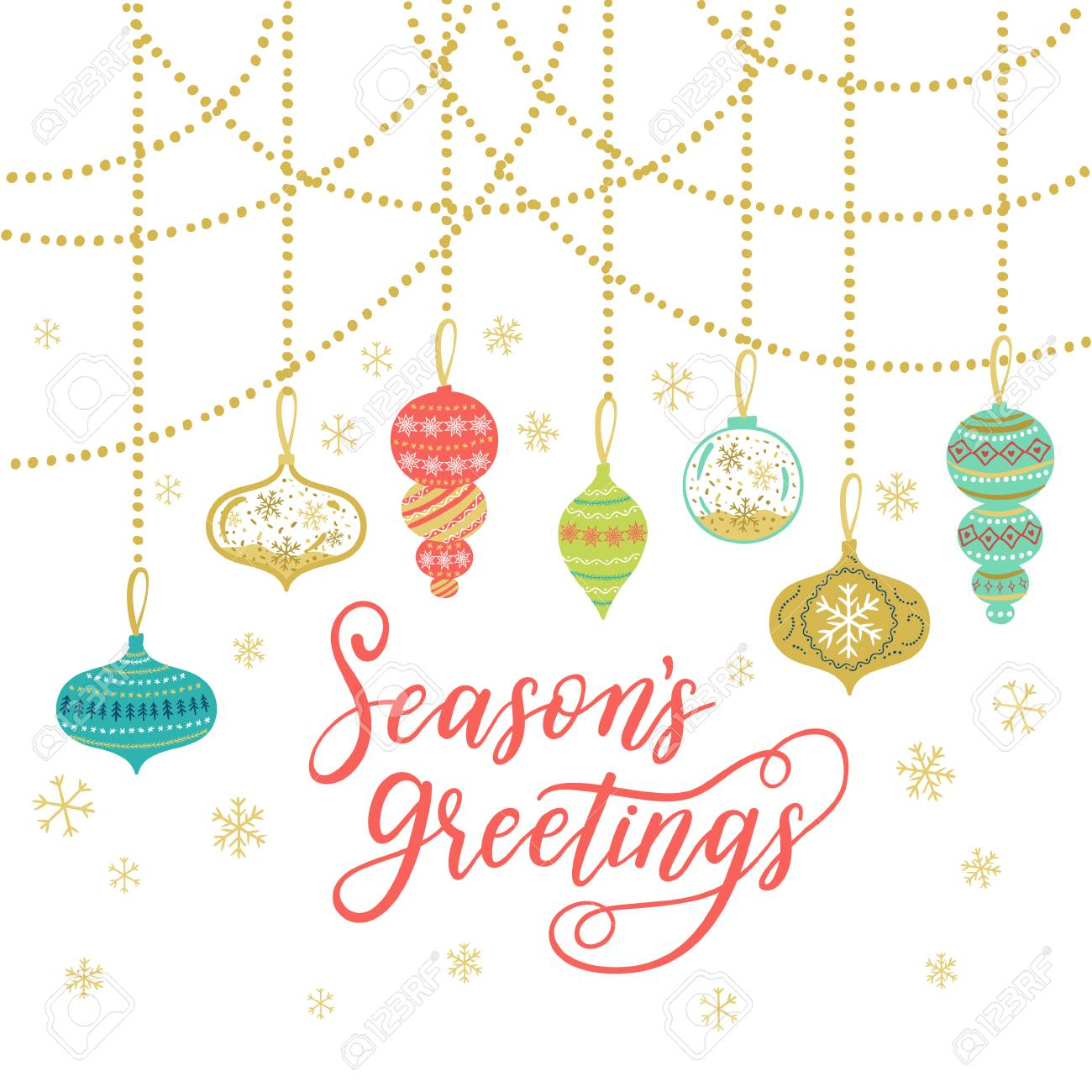 Seasons greetings greeting card vector winter holiday background seasons greetings greeting card vector winter holiday background with hand lettering calligraphy confetti kristyandbryce Image collections