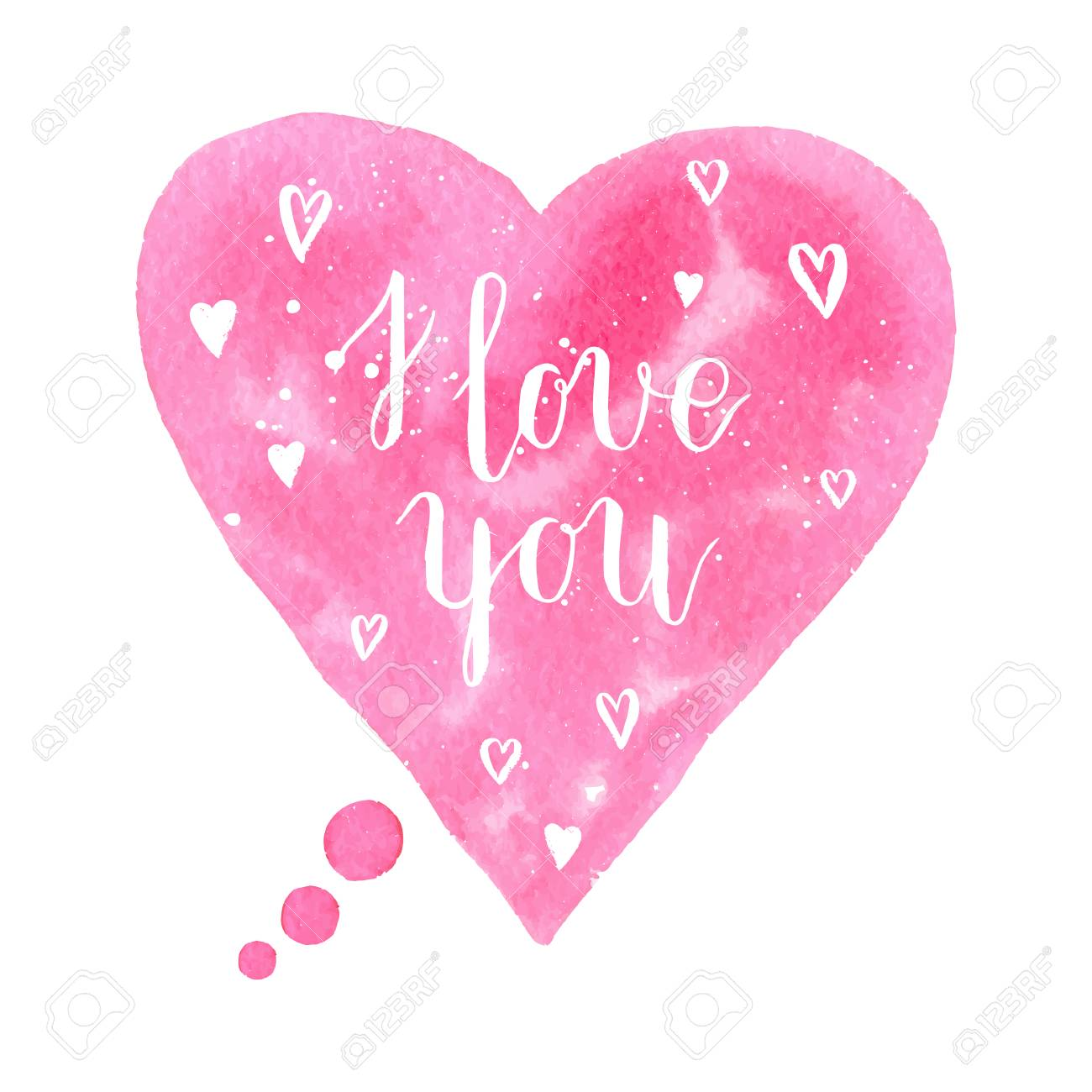 i love you greeting card poster with pink watercolor speech bubble hand drawn heart