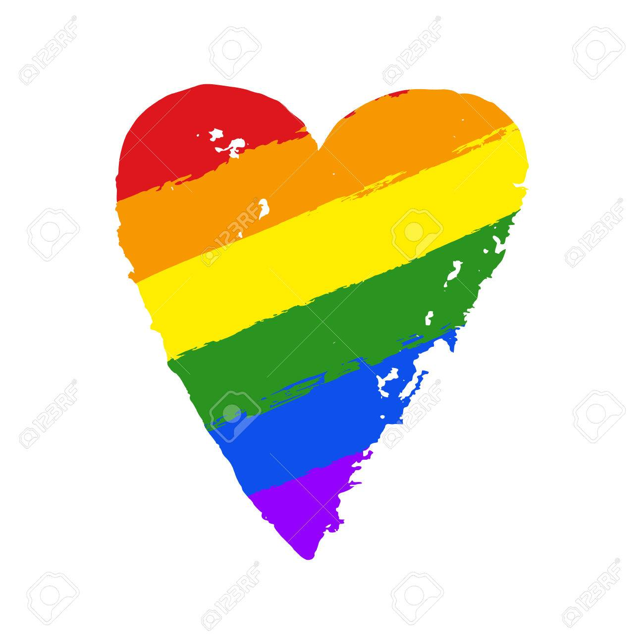LGBT, gay and lesbian pride greeting card, poster with spectrum hand drawn  rainbow heart