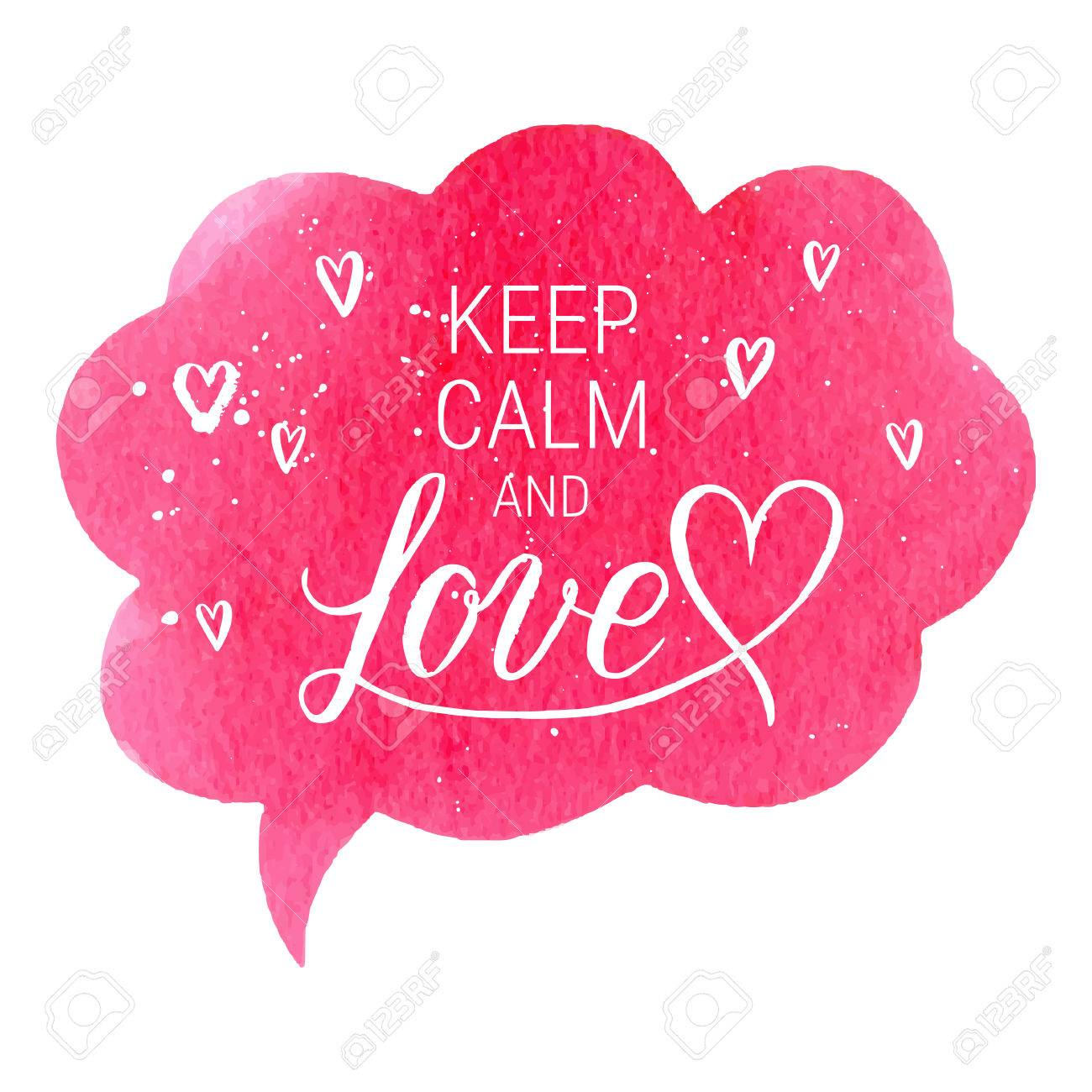 Keep Calm And Love Greeting Card Poster With Pink Watercolor