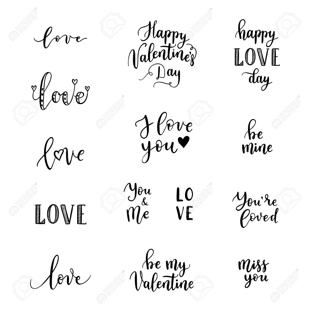 happy valentines day phrases for greeting cards posters vector hand lettering background stock
