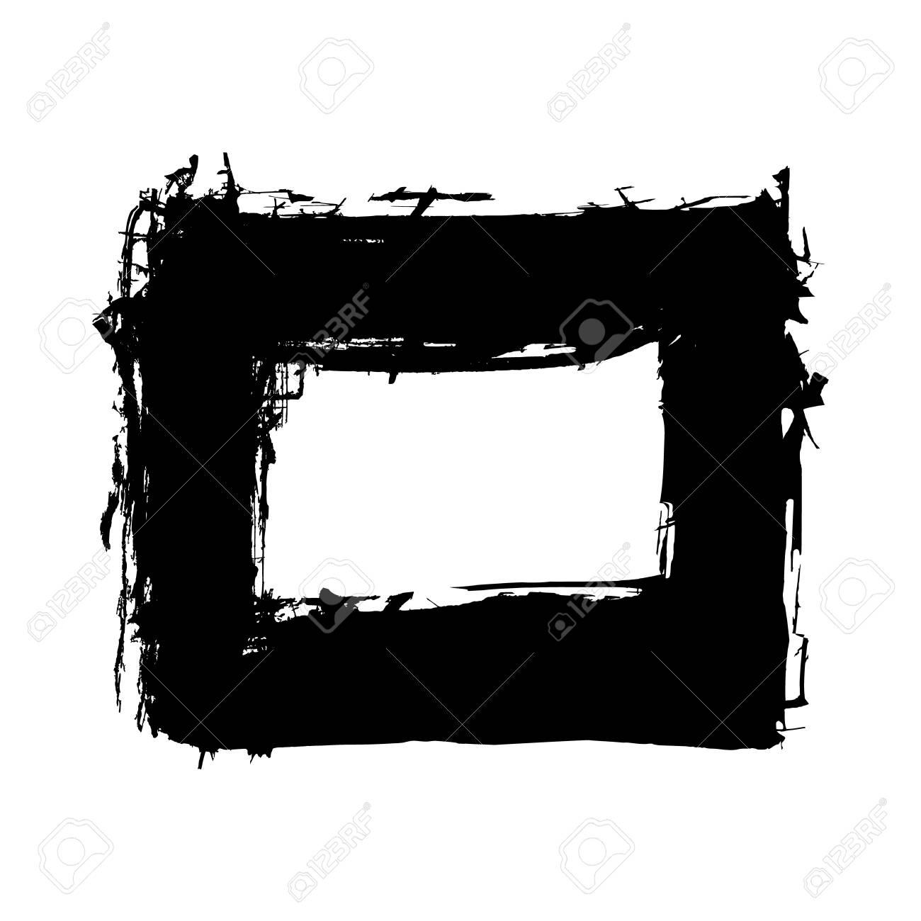 Hand Drawn Abstract Black Paint Brush Strokes, Box, Border. Vector ...