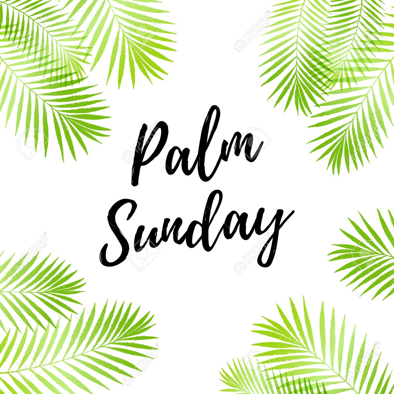 palm sunday holiday card poster with palm leaves border frame vector background stock