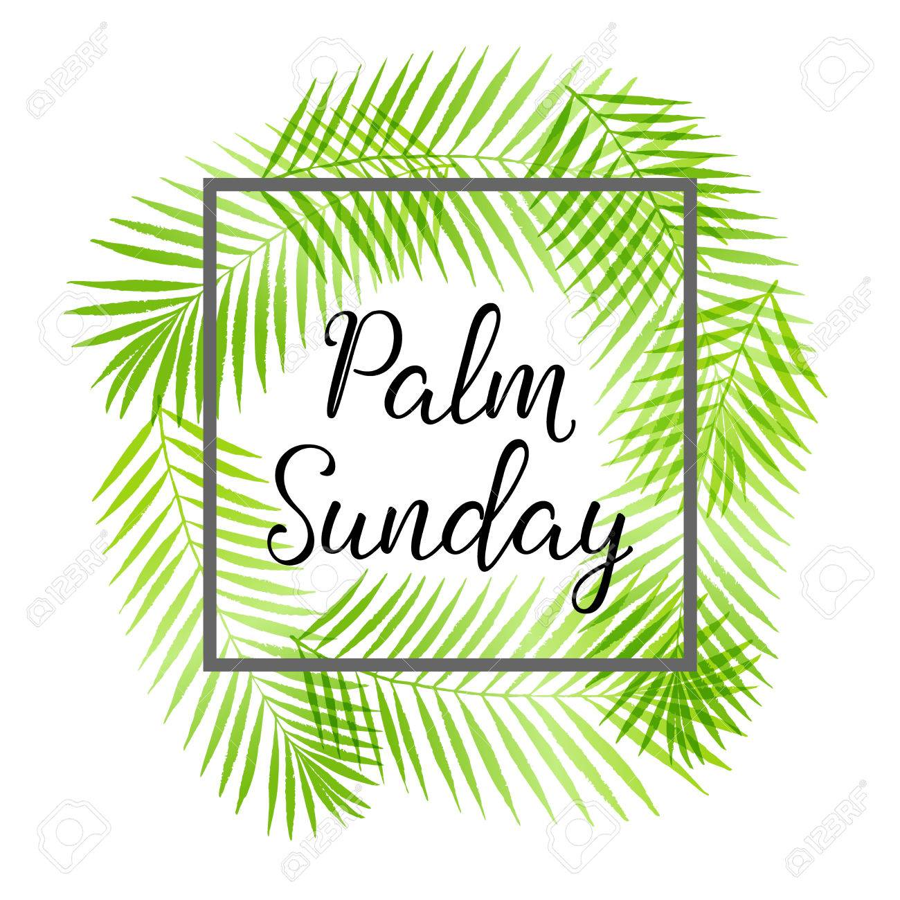 palm sunday holiday card poster with palm leaves border frame rh 123rf com Religious Communion Clip Art Religious Easter Clip Art