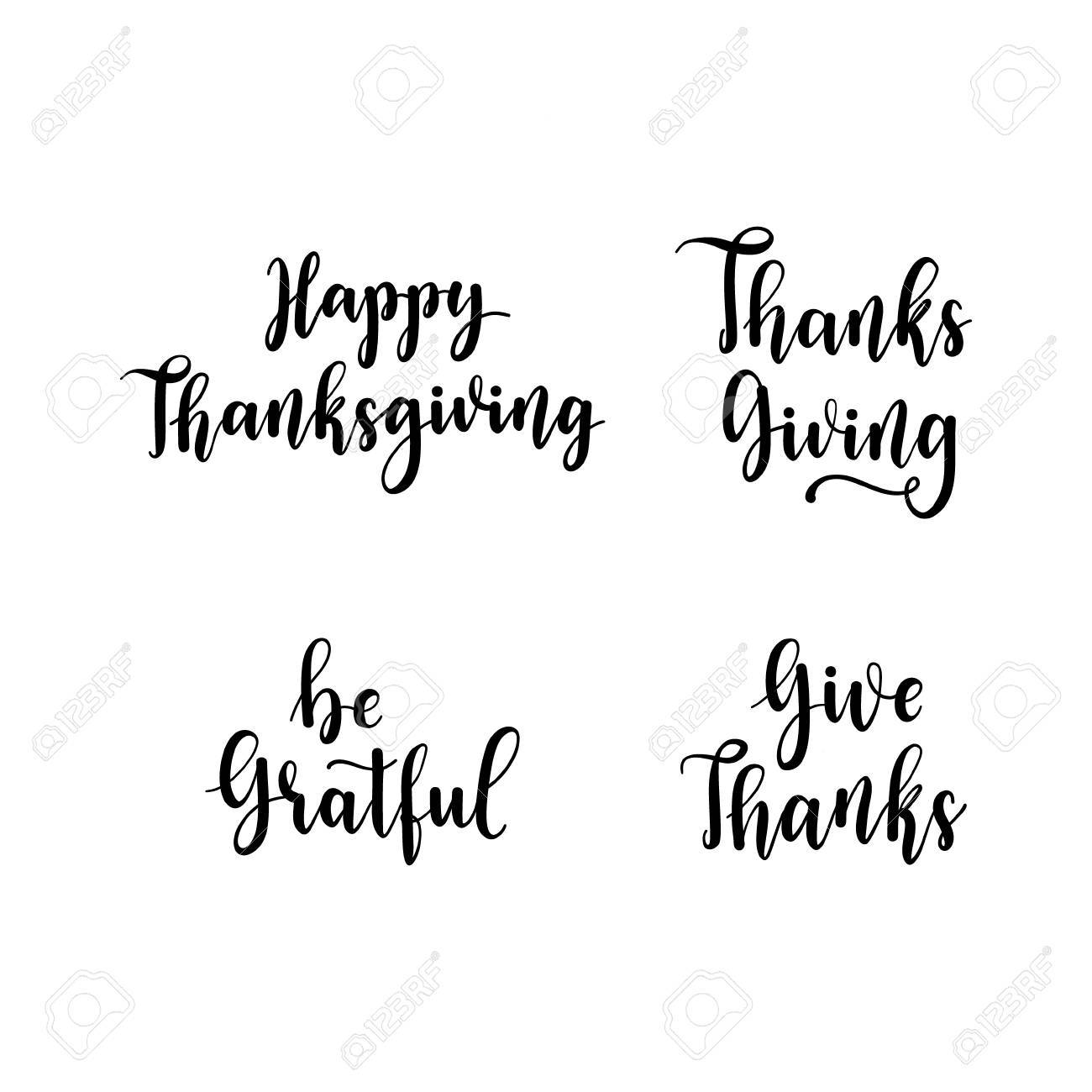 Happy Thanksgiving Be Gratful Give Thanks Hand Lettering Elements
