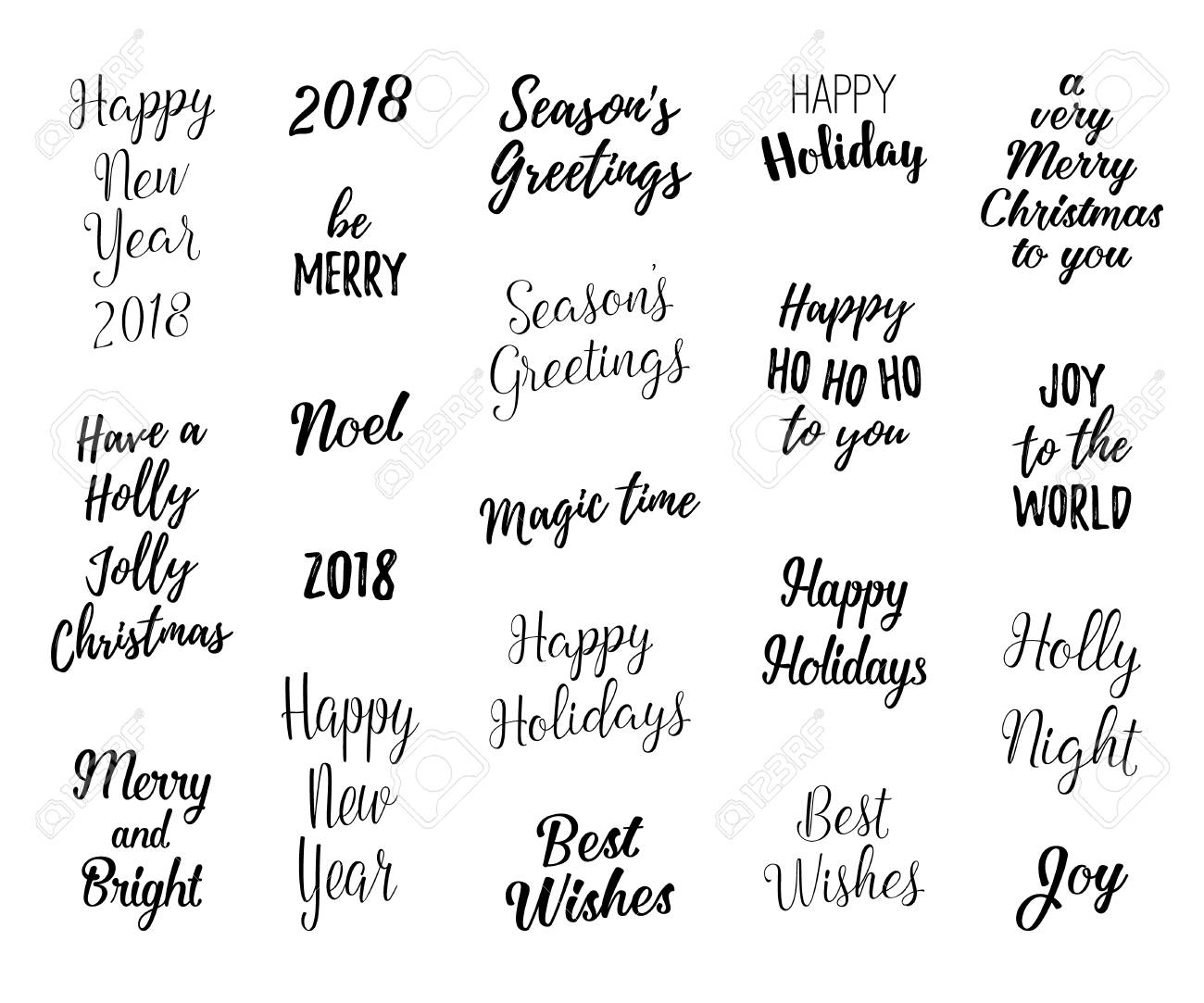 happy new year and merry christmas hand lettering set for greeting