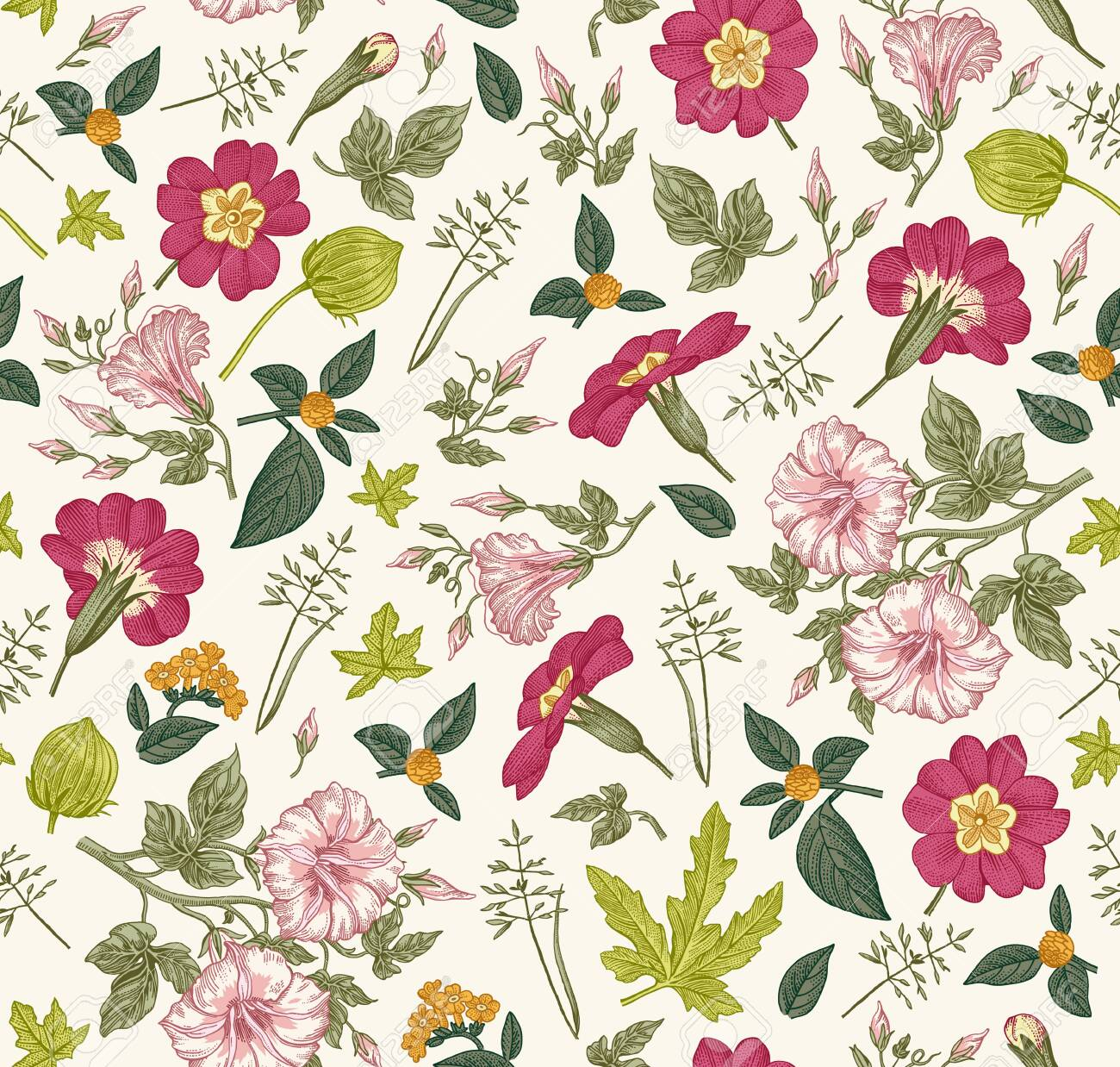Seamless pattern. Beautiful fabric blooming realistic isolated flowers. Vintage background primrose petunia wildflowers. Wallpaper baroque. Drawing engraving sketch. Vector victorian Illustration. - 154826075