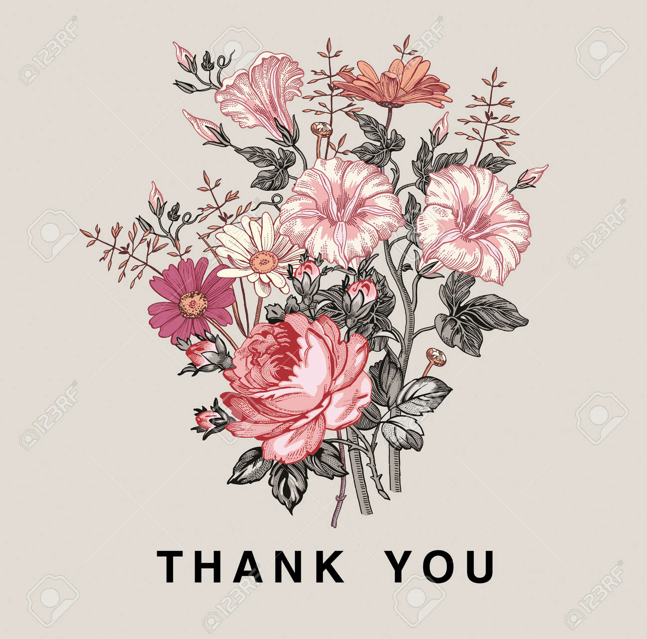 Thank you love. Wedding marriage invitation bouquet. Beautiful blooming flowers Vintage greeting card Frame Drawing engraving Petunia Chamomile Rose isolated floral Wallpaper. Vector Illustration. - 154812615