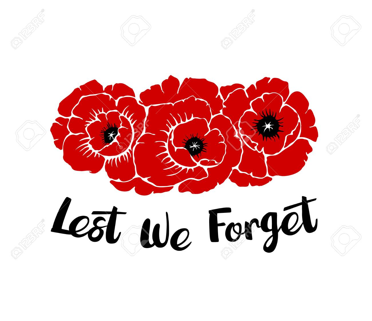 Silhouettes of three poppies flowers isolated on a white background with phrase Lest we forget. Temaplate for Anzac or Rememberance day. Vector illustration drawing in hand drawn style. - 144683184
