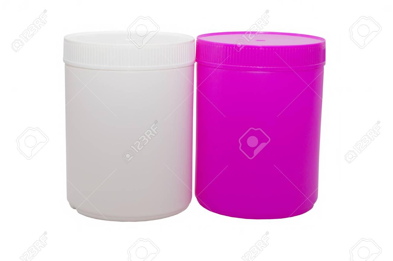 Immagini Stock Due Capacità Plastiche Di Colore Bianco E Rosa