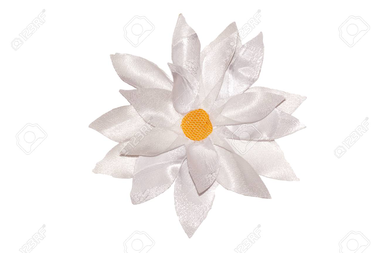 White Flower With A Set Of Petals Handwork On A White Background