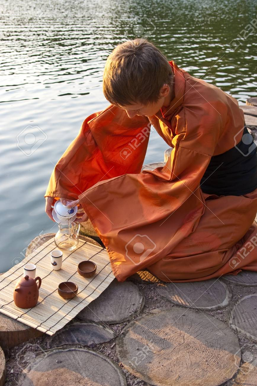 tea ceremony master serving tea near the water Stock Photo - 7118365