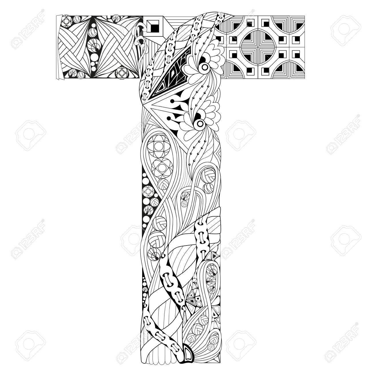 letter t for coloring vector decorative zentangle object stock vector 77007267