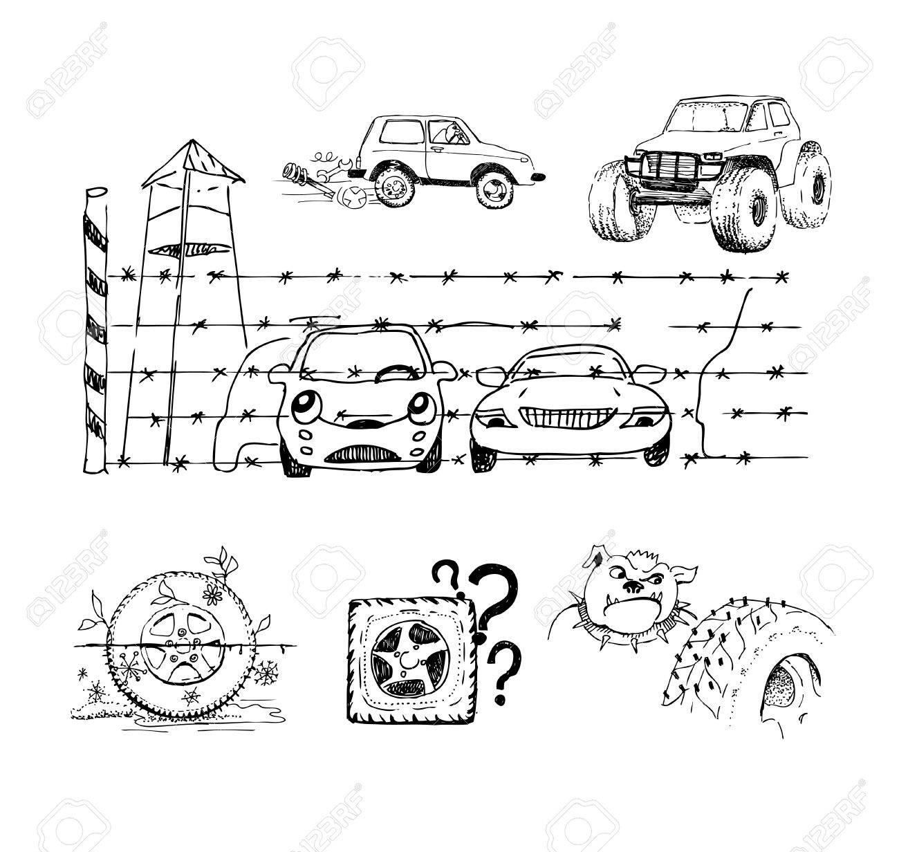 Lustige Skizzen über Autos, Räder Und Deren Zubehör Lizenzfrei ...