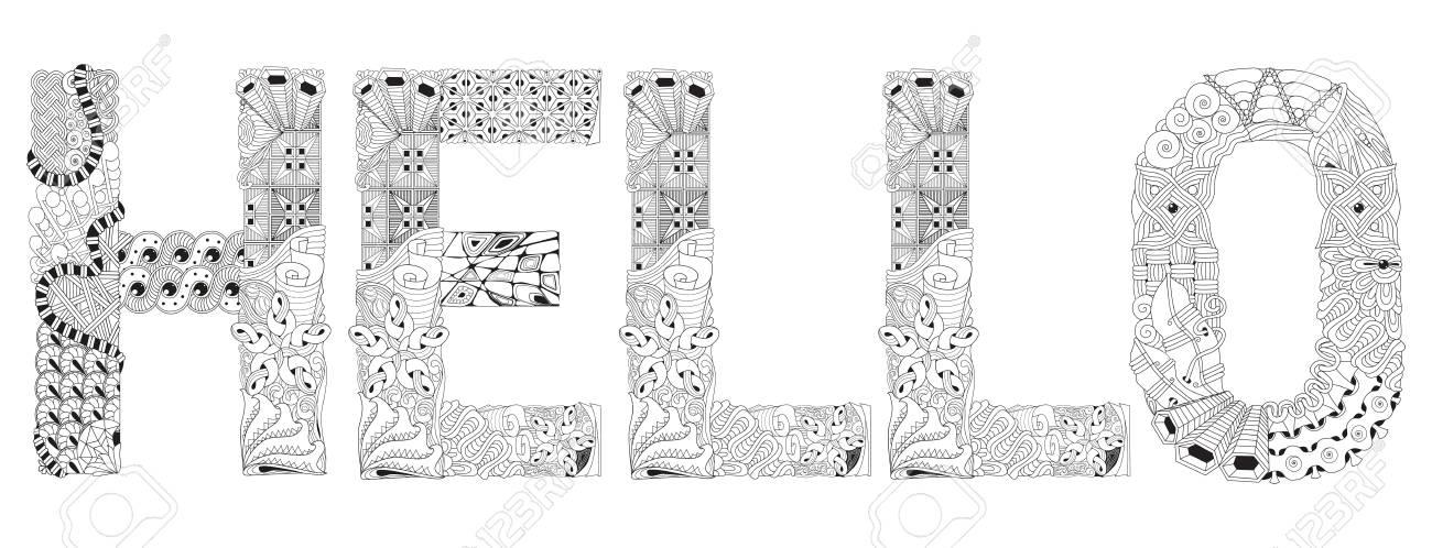Design D Art Peint A La Main Coloriage Anti Stress Adulte Clip Art Libres De Droits Vecteurs Et Illustration Image 78089243