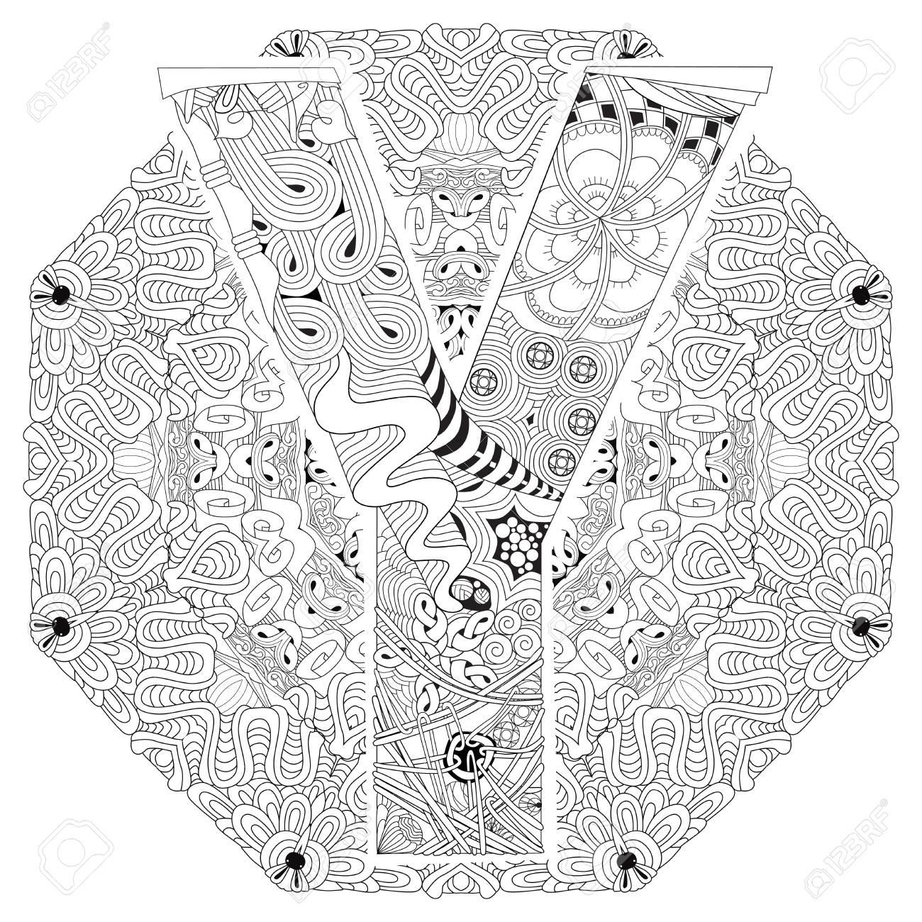 Handbemaltes Kunstdesign Adult Anti Stress Malvorlage Schwarz Weiß