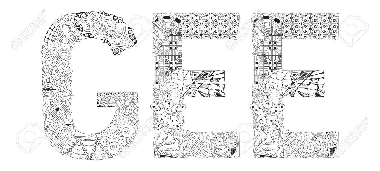 Página Pintada A Mano Para Colorear Antiestrés De Diseño De Arte ...