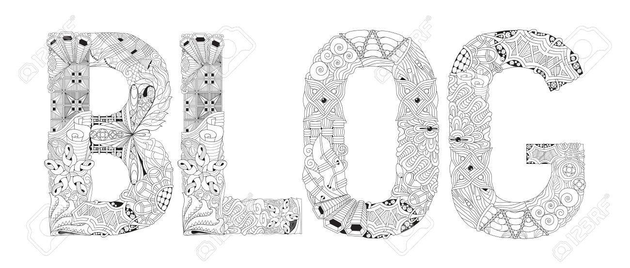 Word Blog Para Colorear Vector Objeto Decorativo Zentangle