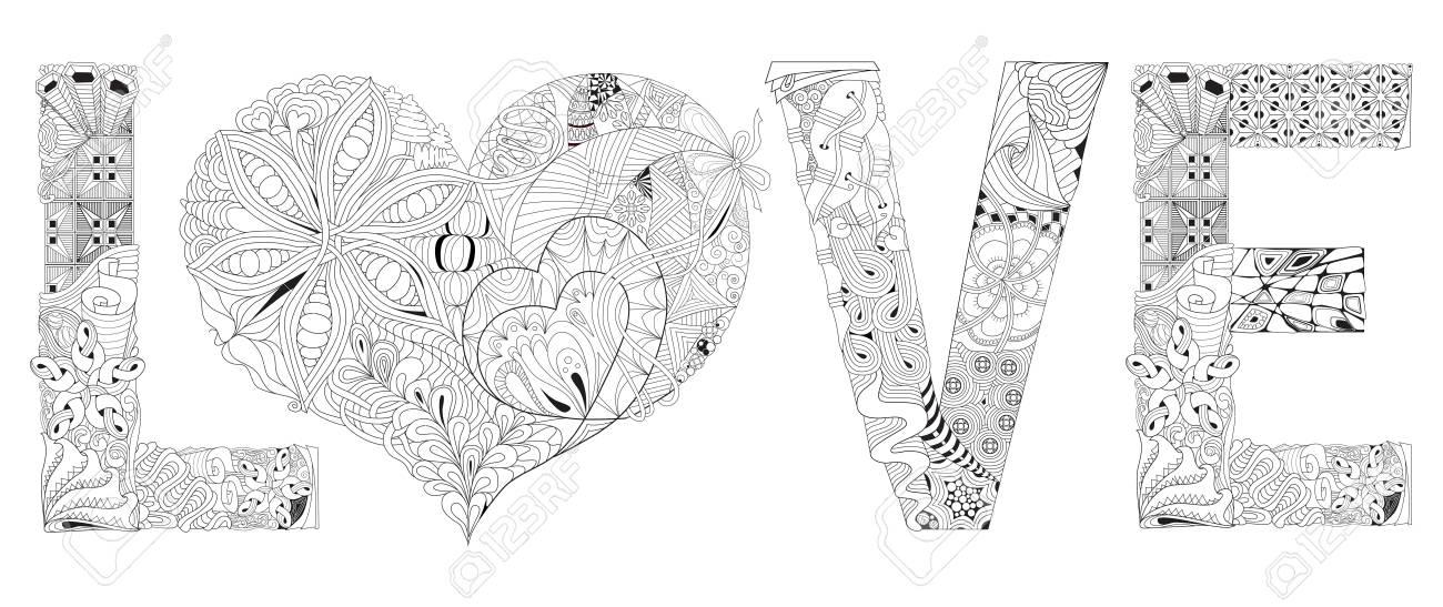 Palabra Amor Con Corazón Para Colorear Vector Decorativo Objeto