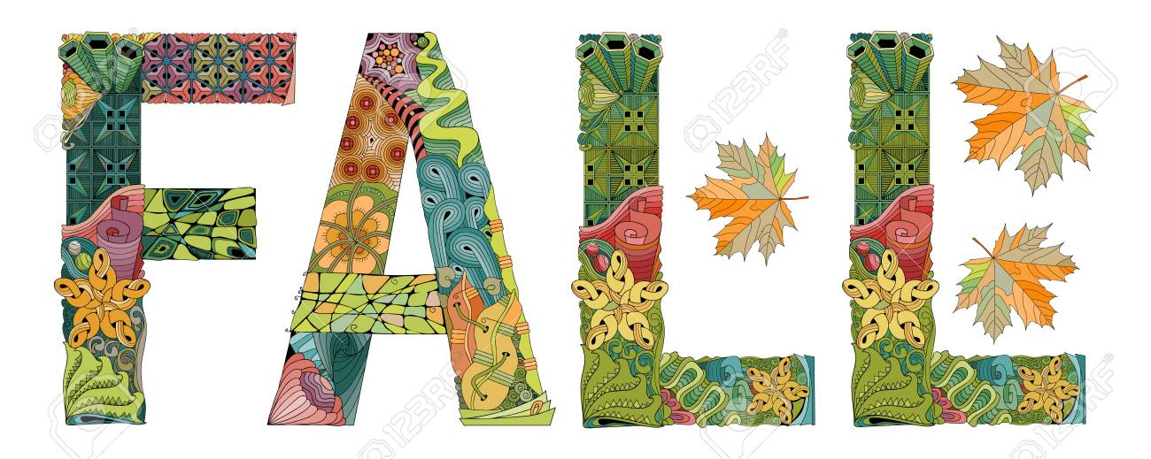 hand painted art design hand drawn illustration word fall for