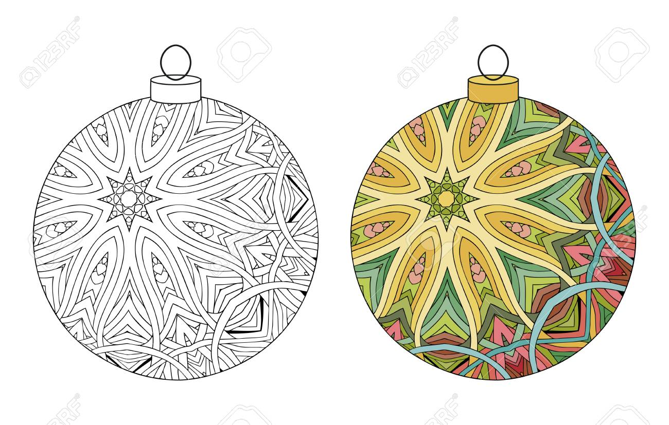 Christmas Decorations Zentangle Styled With Clean Lines For Coloring ...