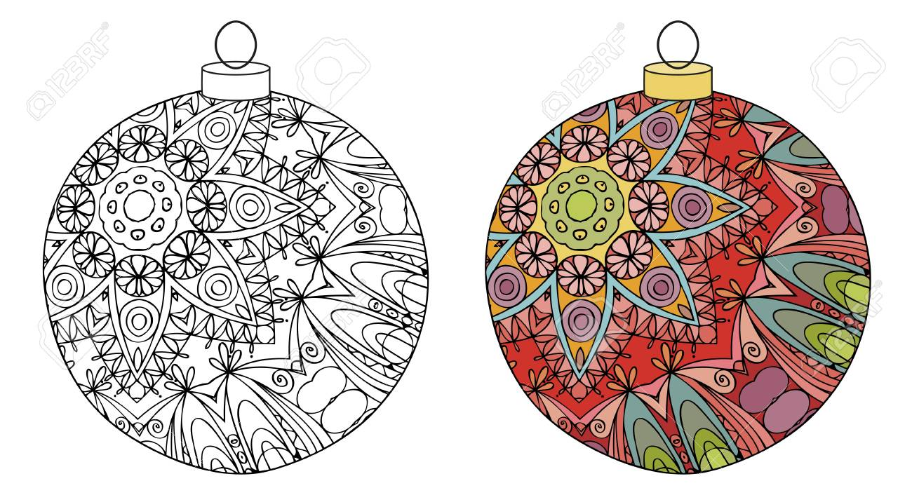 Christmas Decorations Zentangle Styled With Clean Lines For Coloring Book Anti Stress T