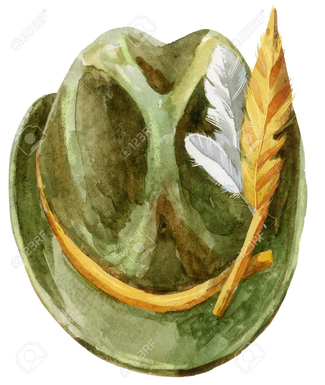 2b9f16b58c0 Green Tyrolean hat with feathers for Oktoberfest Stock Photo - 92271422