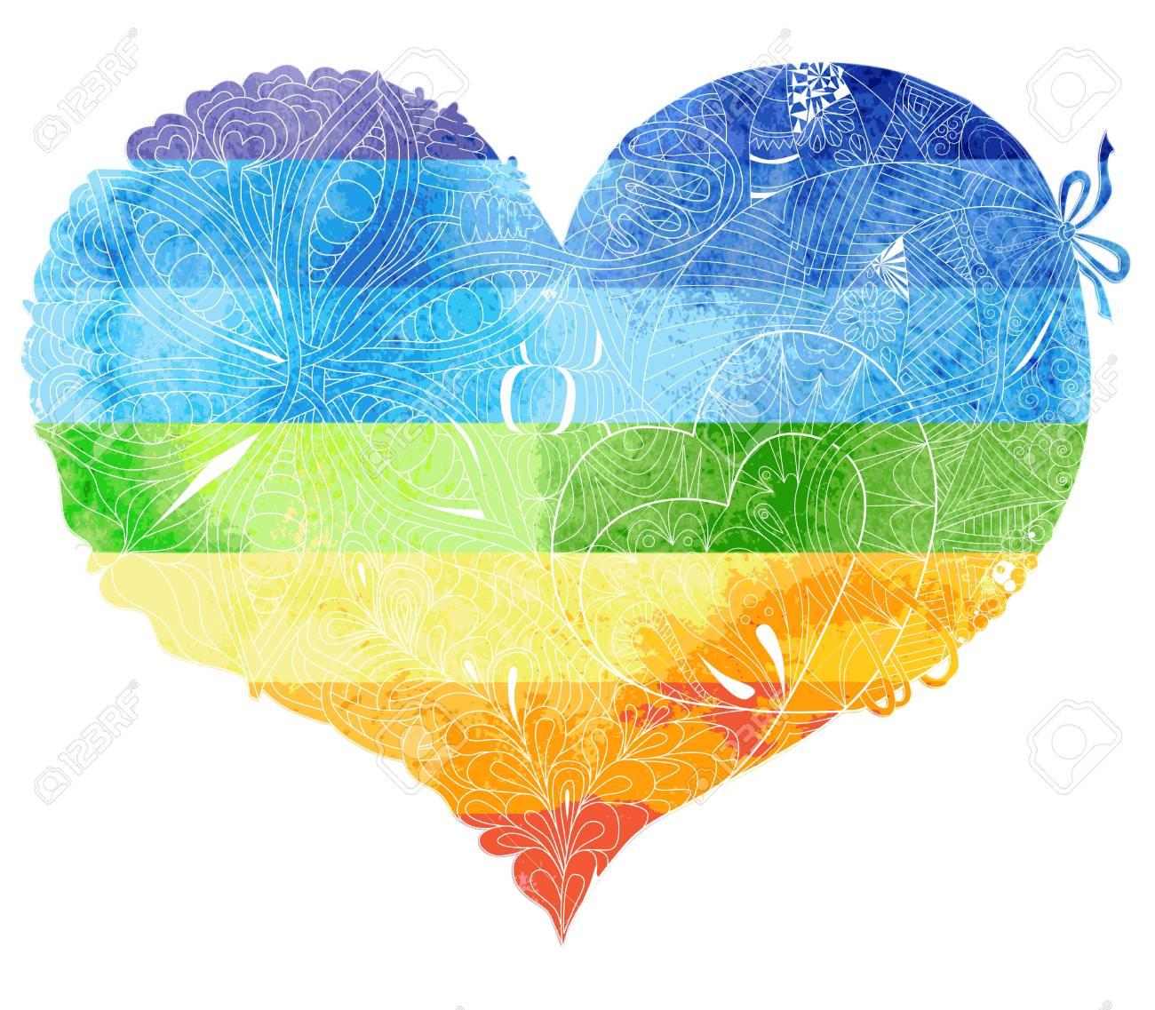 Dibujo De Acuarela Del Corazón Del Arco Iris Con Un Patrón De Luz