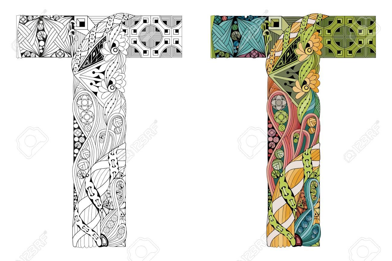 Hand painted Art Design. Letter T Zen Doodle Objects. Colored