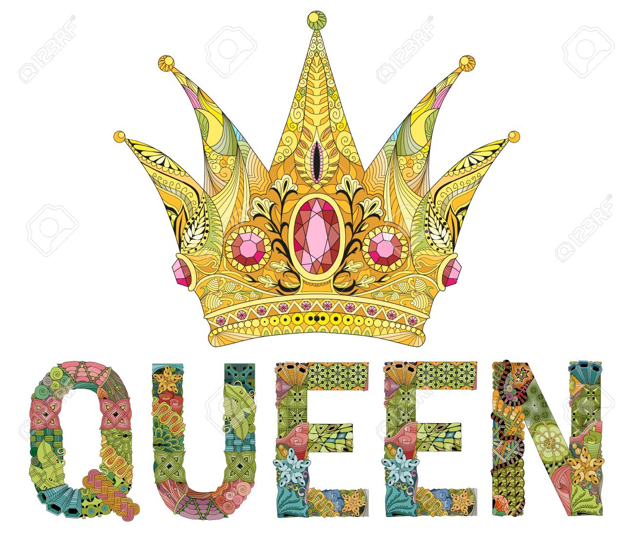 Zentangle stylized crown with word queen. Hand Drawn lace vector illustration - 101892909