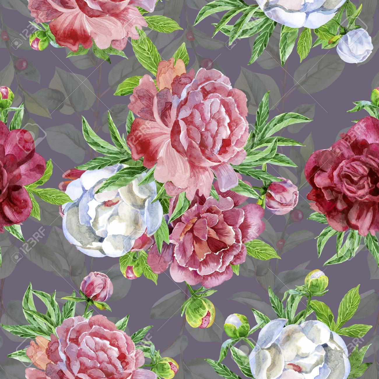 Seamless Pattern With Peonies Flowers Modern Floral Pattern
