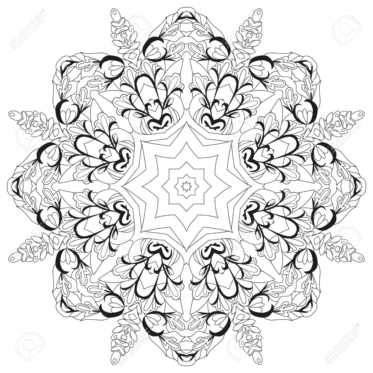 Vector Adult Coloring Book Textures. Hand-painted art design. Adult anti-stress coloring page. Black and white hand drawn illustration for coloring book. - 121450861