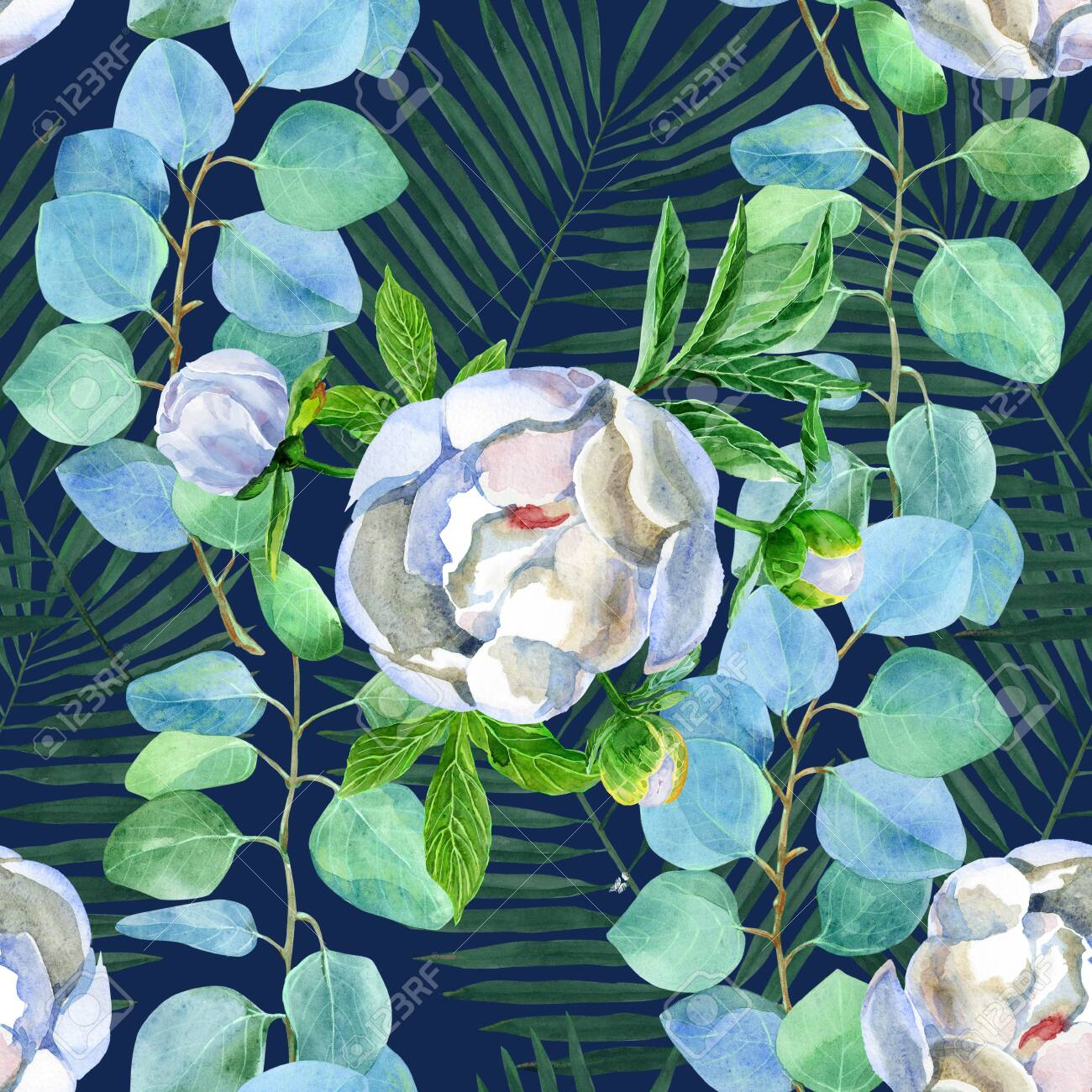 Floral Seamless Pattern With Eucalyptus And Peonies On A Navy