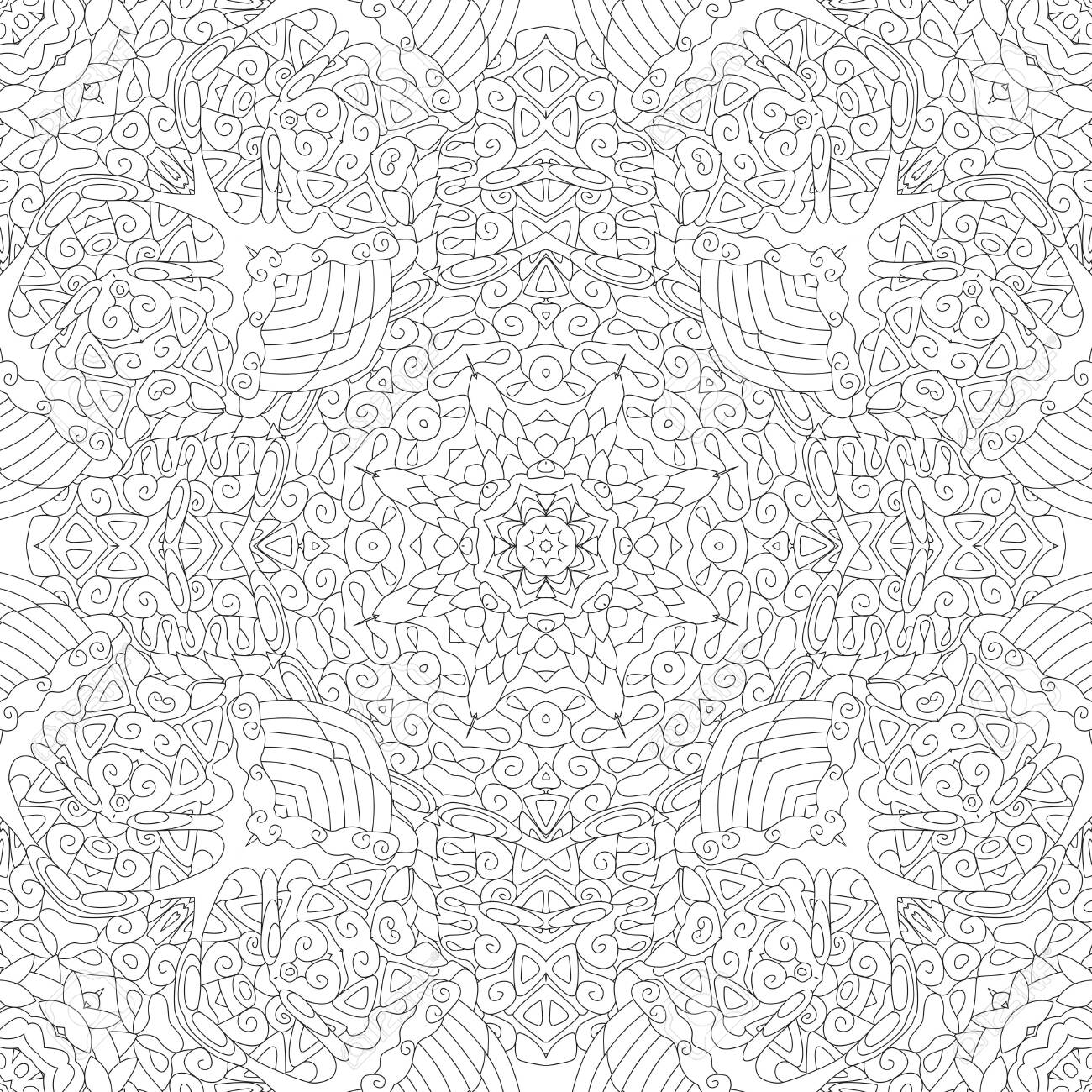 Decorative square seamless ornaments. Unusual flower shape. Oriental vector, Anti-stress therapy patterns. Weave design elements. - 123363424