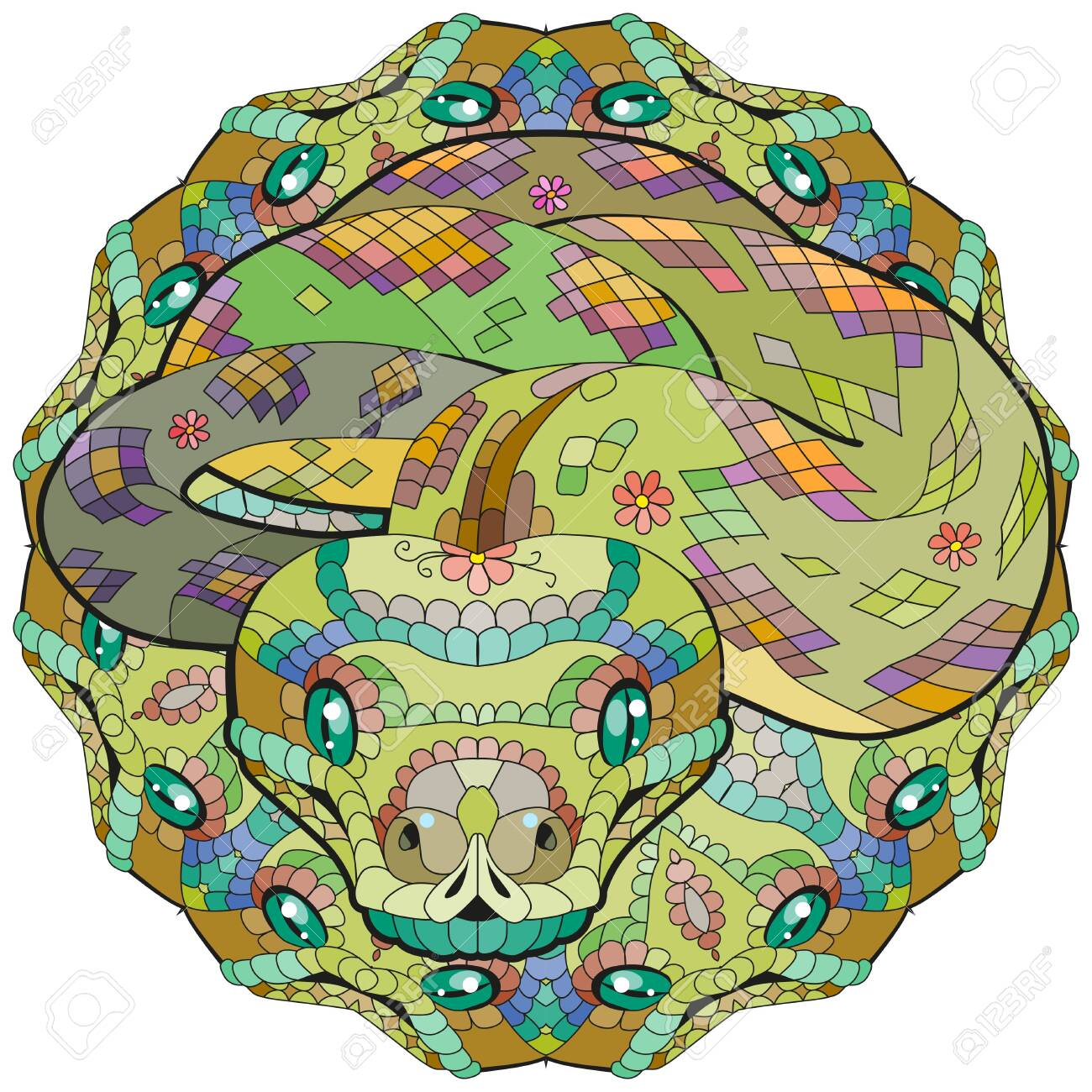 Hand drawn snake with mandala for t-shirt and other decorations - 142946424