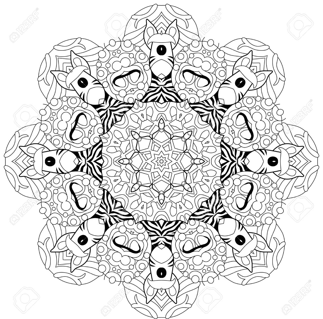 Vector Adult Coloring Book Textures. Hand-painted art design. Adult anti-stress coloring page. Black and white hand drawn illustration for coloring book. - 149055652