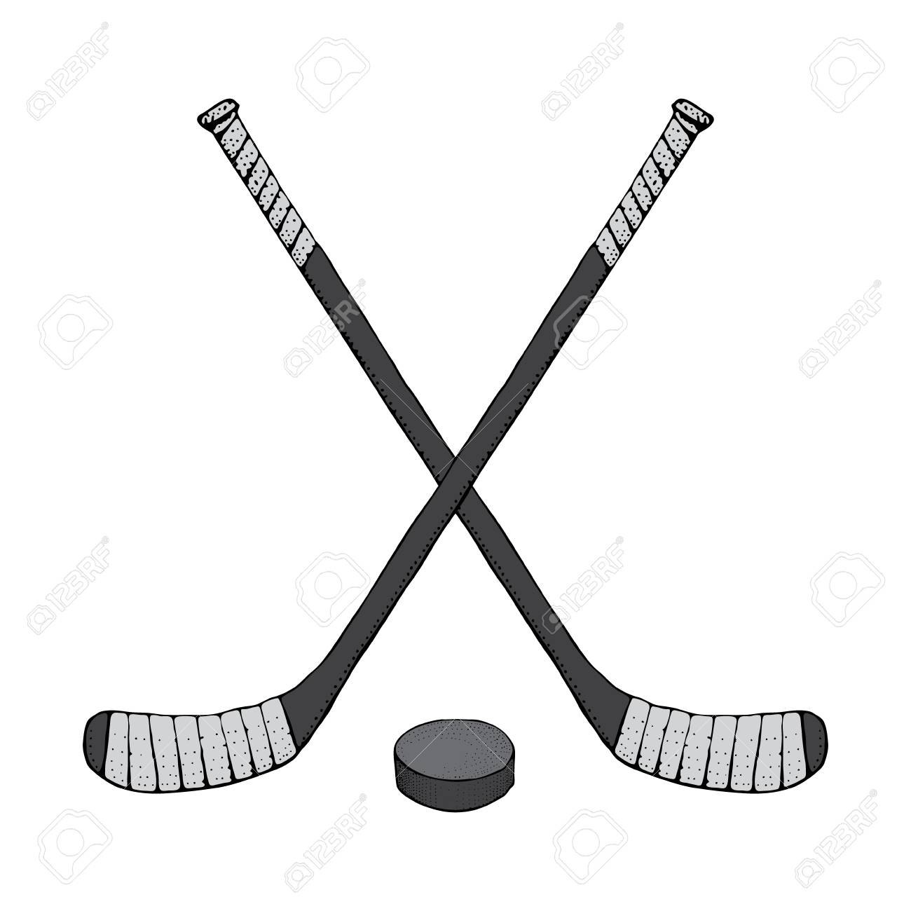 Ice Hockey Stick With Puck. Sports Vector Illustration Isolated ...