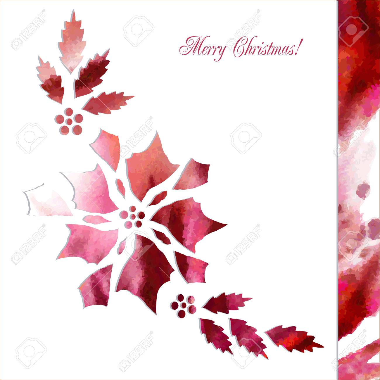 Background With Paper Poinsettia Flowers Vector Watercolor