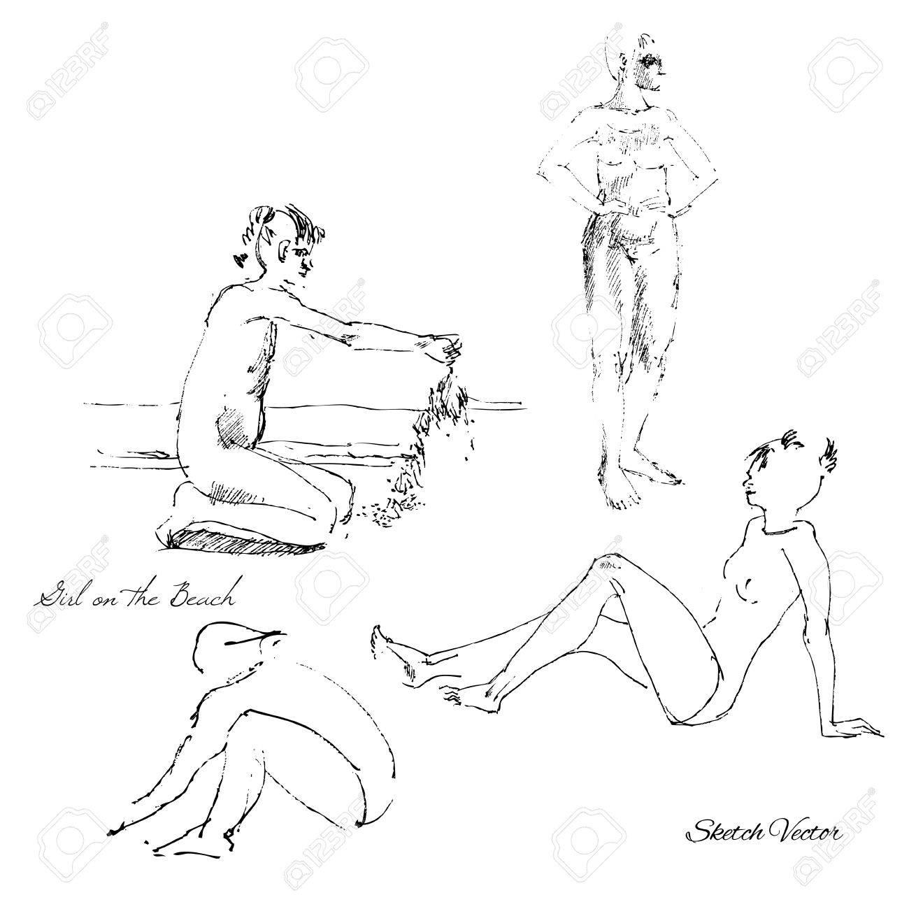 Die Leute Auf Der BeachSketch Zeichnung Vektor Illustration Lizenzfreie Bilder